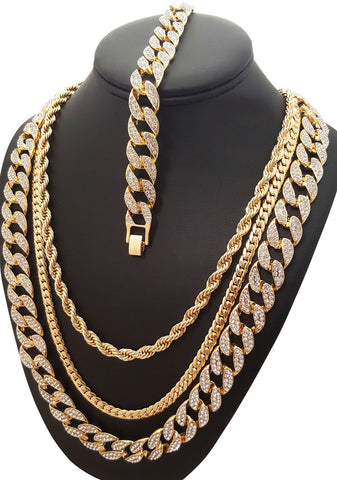 ICED OUT ROPE, CZ MIAMI CUBAN CHAIN, NECKLACE & BRACELET SET