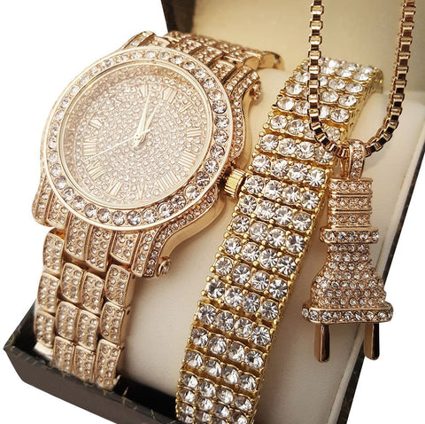 ICED OUT WATCH, BRACELET & POWER PLUG NECKLACE SET