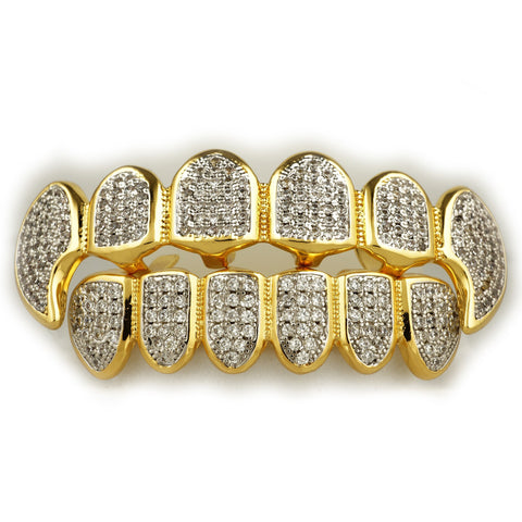 18k Gold Pave Rhodium Fangs Grillz set Top & Bottom
