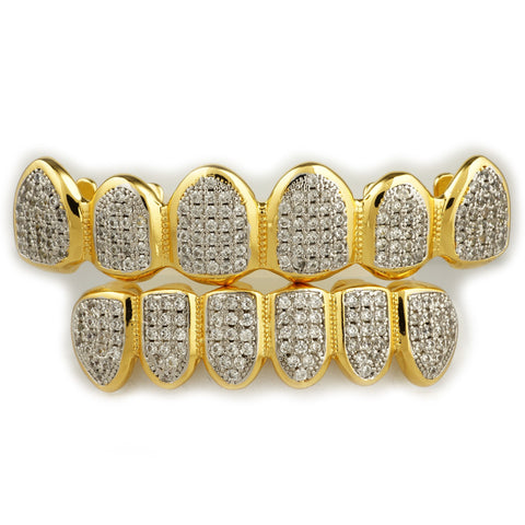 18k Gold Pave Rhodium Grillz set Top & Bottom