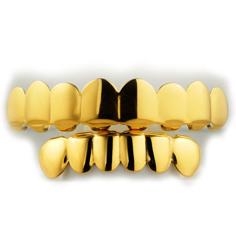 Gold Plated Grillz 8 Teeth Top & 6 Teeth Bottom