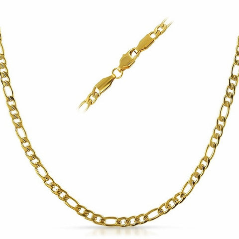 Gold Plated Stainless Steel Figaro Necklace Chains 4mm