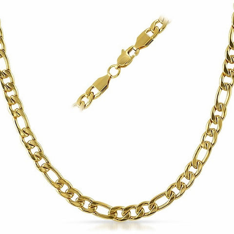 Gold Plated Stainless Steel Figaro Necklace Chains 6mm