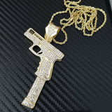 Iced Out Gold PT 37 Rip Mary Gun Pendant