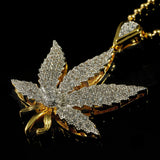 18k Gold Iced Out Weed Pendant and Box Chain