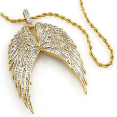18K Gold Guardian Angel Wing Pendant and Rope Chain