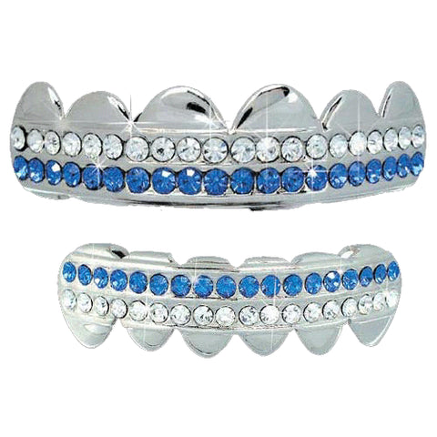 Silver Plated 2 Row Blue Silver Plated Grillz Set