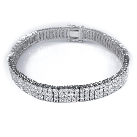 18K White Gold 3 Row Tennis Bracelet