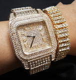 ICED OUT BLING DIAMOND LUXURY WATCH & BRACELET GIFT SET