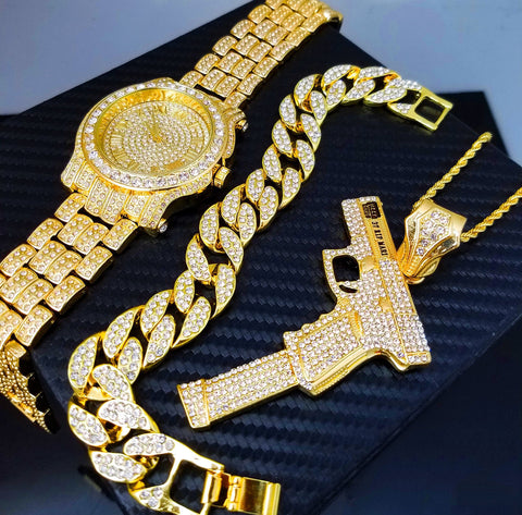 ICED OUT GOLD PT WATCH, 37 RIP MARY & BRACELET SET
