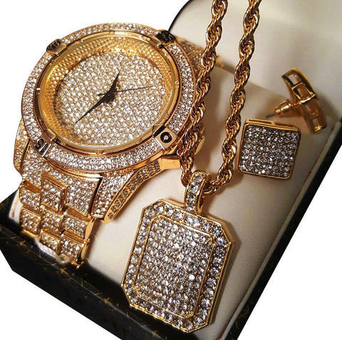 GOLD DIAMOND WATCH, NECKLACE & EARRINGS SET