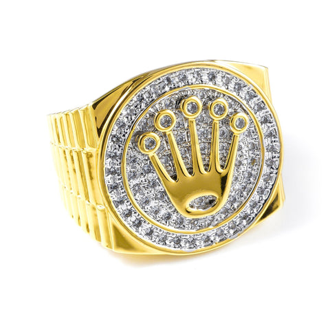 18K Gold Plated Iced Out CZ King Ring