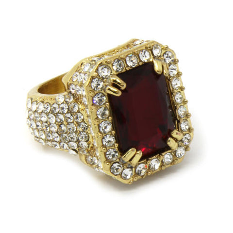 Gold Plated With Red Stone Ring