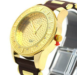 14k Gold Plated Heavy Silicone Band Techno Pave Watch