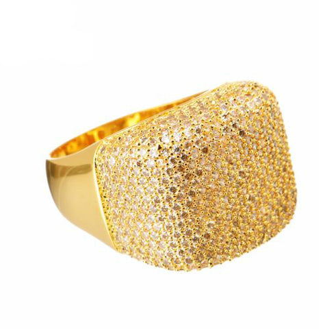 Gold Plated Brass Hand CZ Band Ring