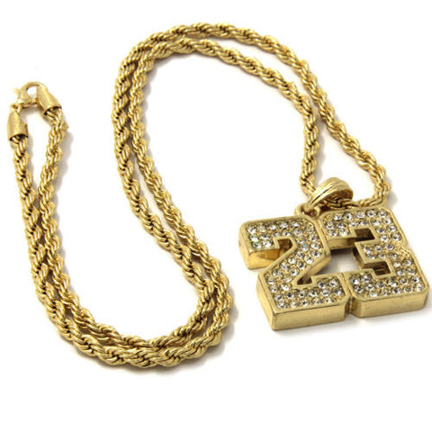 Gold Iced Out 23 Basketball Pendant 24 Inch
