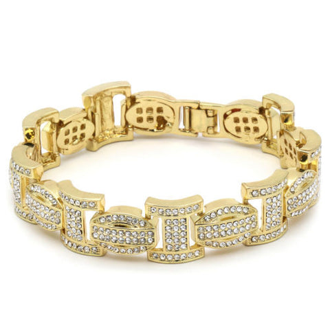 Gold Plated Bracelet Thick Link Iced Out Clear Cz Stones