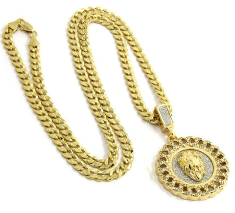 Pendant Gold Plated Cuban Style Hip-Hop Lion Face 24 Inch