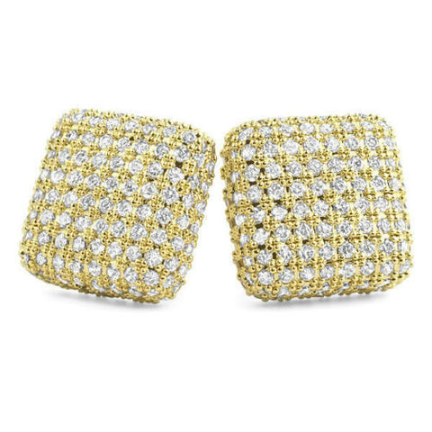 18k Gold Finish Jumbo Micropave Square CZ Mens Stud Earrings