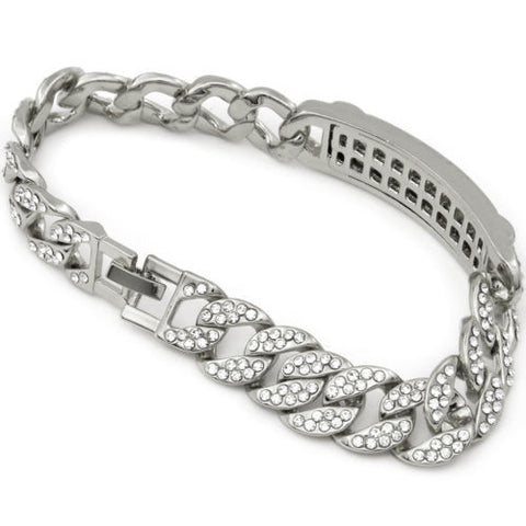 Silver Tone Fully Cz Iced Out Miami Cuban Bracelet