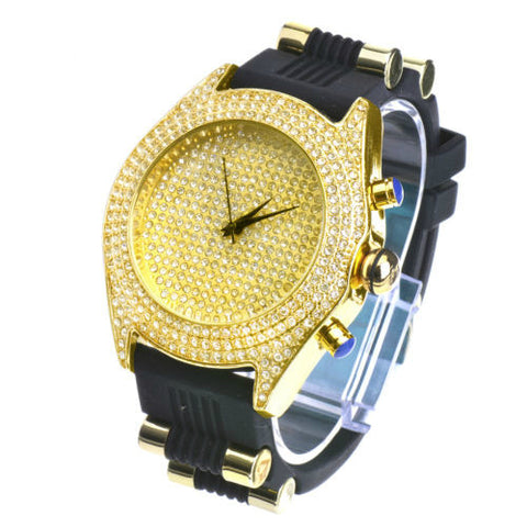 Iced Out Gold Plated Silicone Band Techno Pave Watch