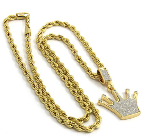 Pendant Gold Plated Iced Out Crown 24 Inch