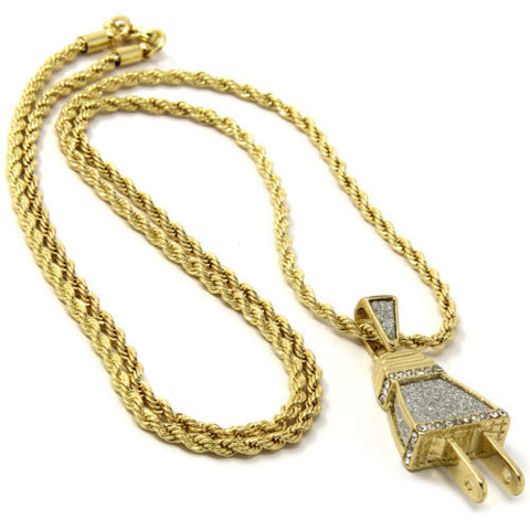 Pendant Plated Iced Out Electric Plug Hip-Hop 24 Inch