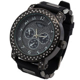 Black Case 2line Cz Iced Hip Hop Black Silicone Quartz Wrist Watch