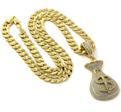Pendant Gold Plated $ Cash Money Bag 30 Inch
