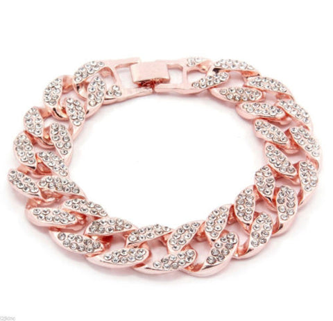 ROSE Gold Plated CZ Cubic Zirconia Cuban Bracelet