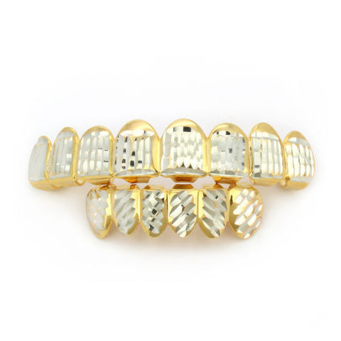 Gold Plated Diamond Cut Down 8 Teeth Grillz Top & Bottom Set
