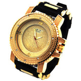 Gold Iced Out Hip Hop Silicone Quartz Wrist Watch