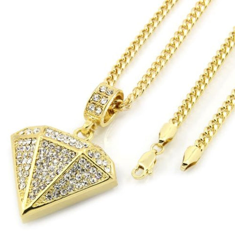 Pendant Mens Gold Plated Diamond 30 Inch