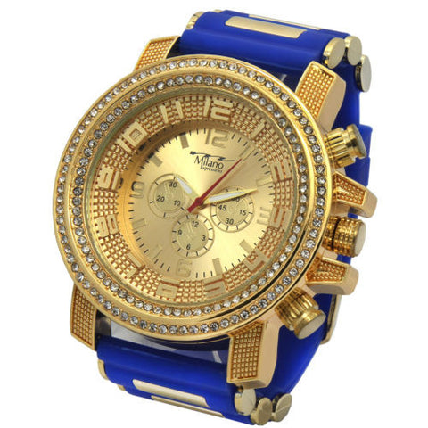 Gold Iced Hip Hop Blue Silicon Quartz Wrist Watches Milano