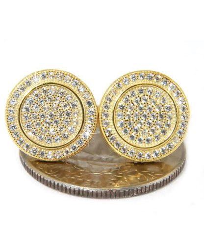 Gold Large Round Circle Square Flat Screw Back Stud Earring