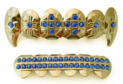 Blue Stones Cross Fangs Gold Plated Grillz Set