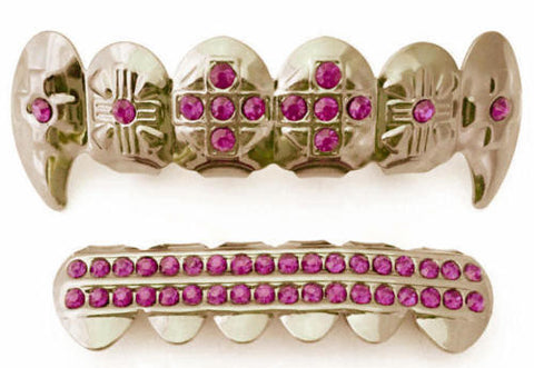 Pink Stones Cross Fangs Gold Plated Grillz Set