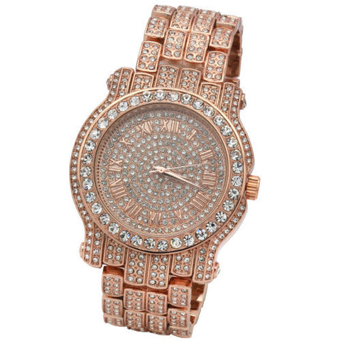 CZ Fully Iced out Rose Gold Plated