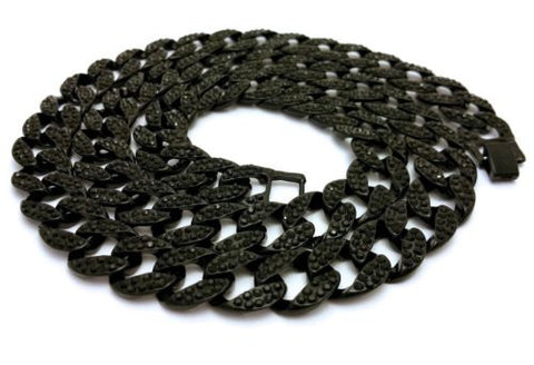 Mens Iced Out Black Finish Rappers Miami Cuban Link Chain Necklace