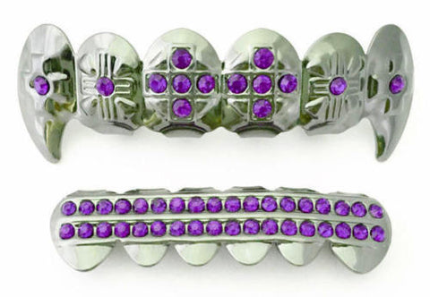 Purple Stones Cross Fangs Silver Plated Grillz Set