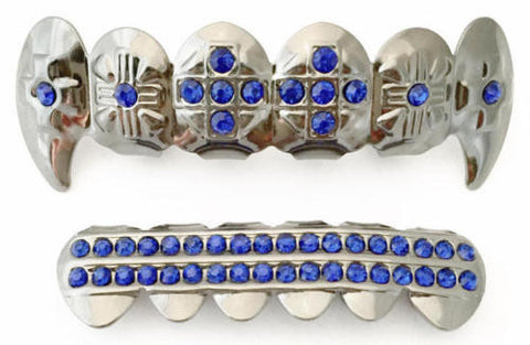 Blue Stones Cross Fangs Silver Plated Grillz Set