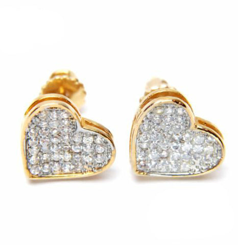 Gold Micro Pave Lab Diamond Caved Heart Earring