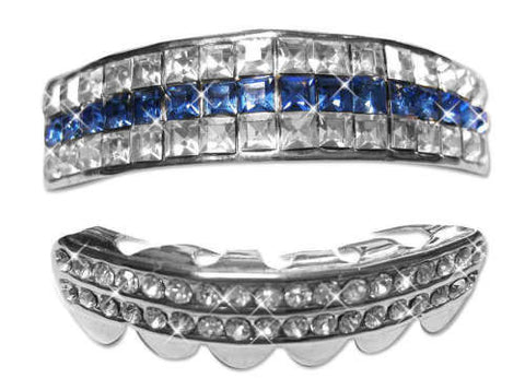Silver Grillz Set 5 Rows of Blue Topaz Ballers Ice