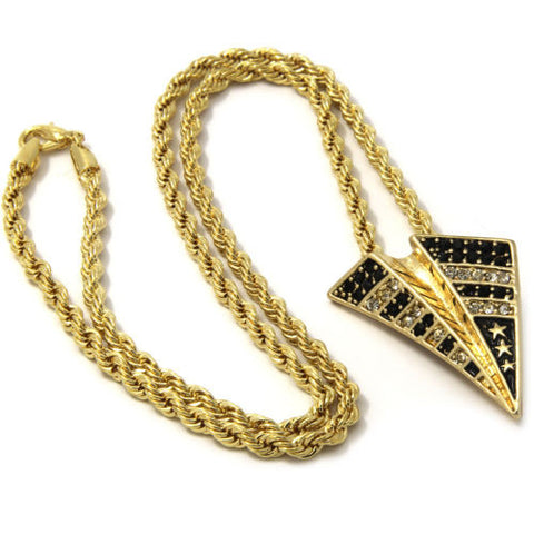 Pendant Gold Iced Out Paper Plane 24 Inch