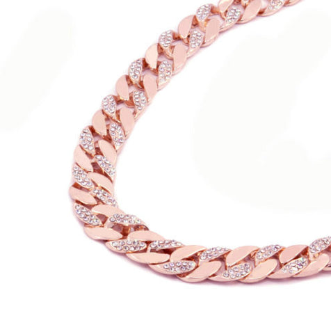 14k Rose Gold Finish Iced Out CZ Chain Miami Cuban