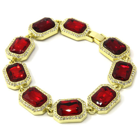 Red Ruby Gold Plated Iced Out Rubies Stone Bracelet