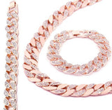 2 in 1 Rose Gold Finish Iced Out Chain & Bracelet Miami Cuban