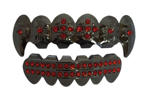 Red Stones Cross Fangs Black Plated Grillz Set