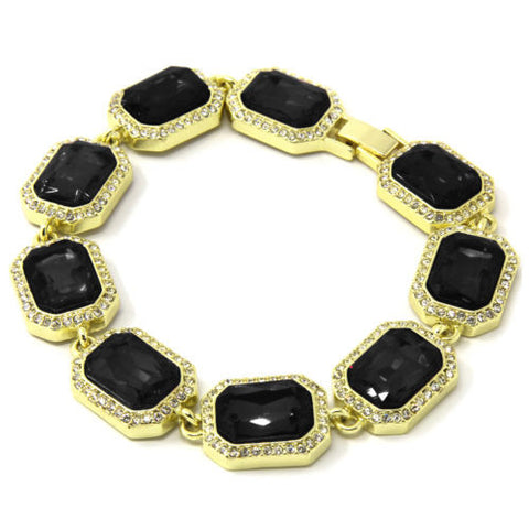 Black Ruby Gold Plated Iced Out Bracelet