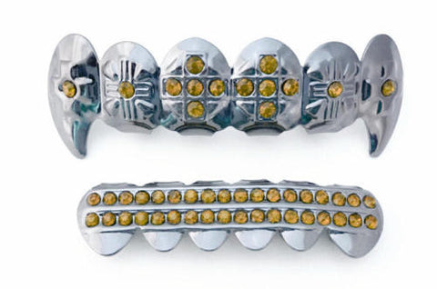 Yellow Stones Cross Fangs Silver Plated Grillz Set